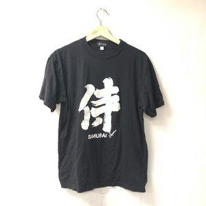 Japan shrine samurai souvenir black tee shirt